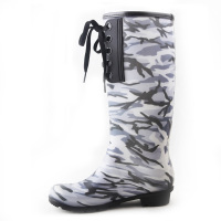 2016 lace up high boot over the knee rain boot camo or solid customize print