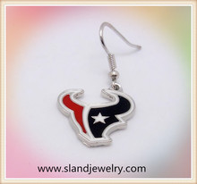 Hot sale zinc alloy enamel houston texans charm dangling earrings