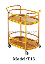 Aluminum Knocked-down Serving Hotel Cart Furniture Tea Wine Designs Round Gold Drinks Trolley