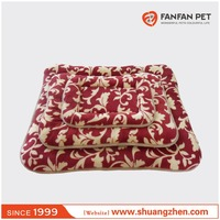 Warm soft flower print pet bed dog cushion