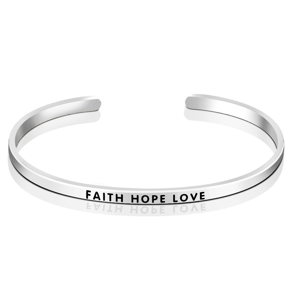 925 Sterling Silver FAITH HOPE LOVE Cuff Bangle Bracelet