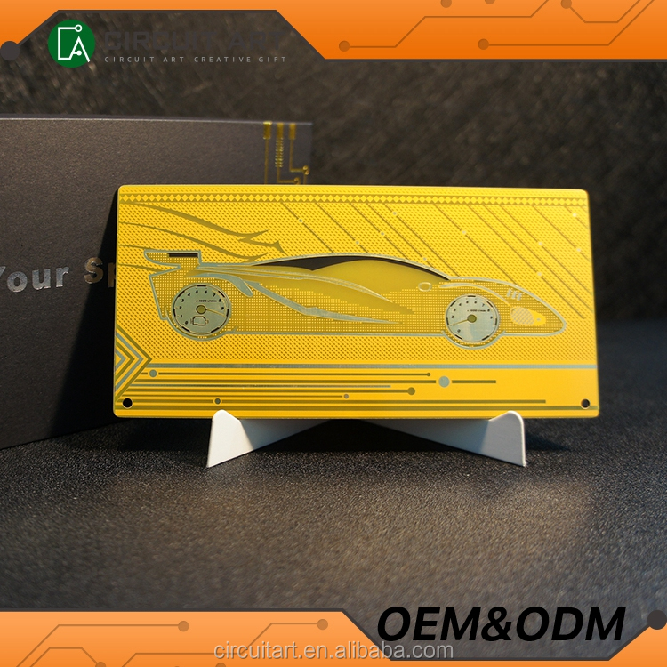 Newest Design China Circuit Souvenir Supercar Yellow Metal Greeting Card Best Selling Souvenir