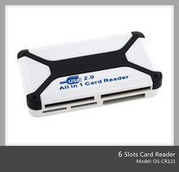 android usb smart sim card reader plastic coustom logo card reader writer with 6 slots(OS-CR121)