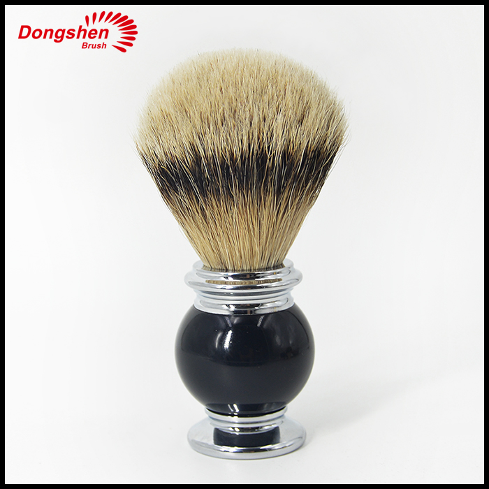 Personalized silvertip badger shaving brush with resin and metal handle