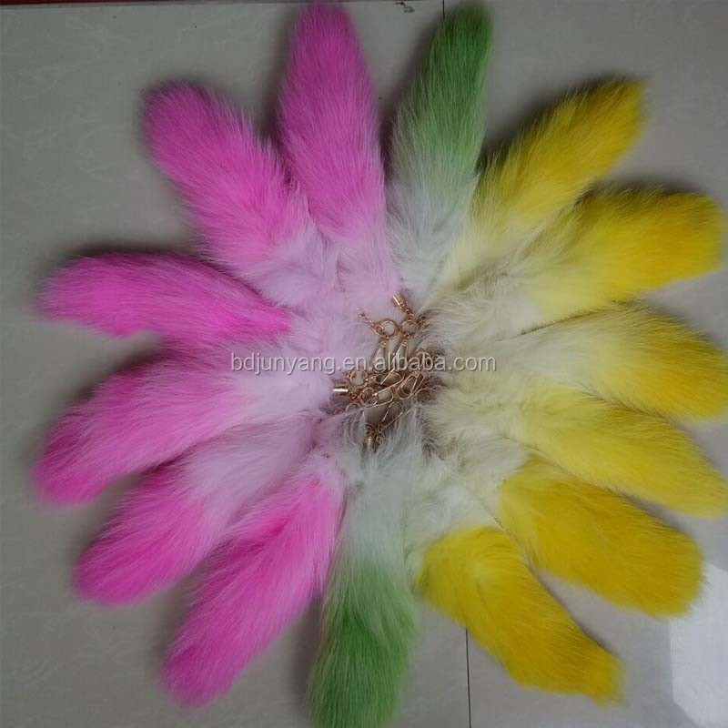 Dyed color real fox fur tails keychain