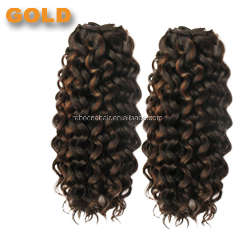 Rebecca Gold Synthetic Curly Hair Fast Shipping Cheap Hair Extension