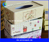 china factory Iron Napkin tissue tin boxes with customized logo