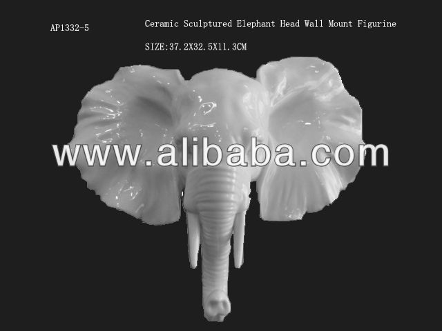 ceramic sculptured Elephant head wall mount figurine