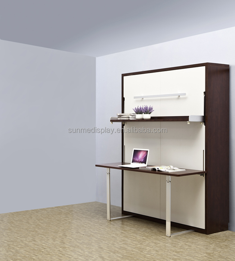 Factory price Plywood Vertical Wall <strong>Bed</strong> With Folding Desk And Shelf