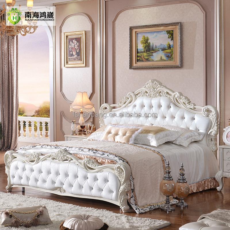 Luxus Geschnitzten Rose Romantische Weiß Design Leder Holz Hochzeit  Schlafzimmer Möbel