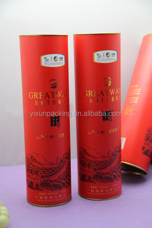 cheap paper red wine tube box shenzhen factory