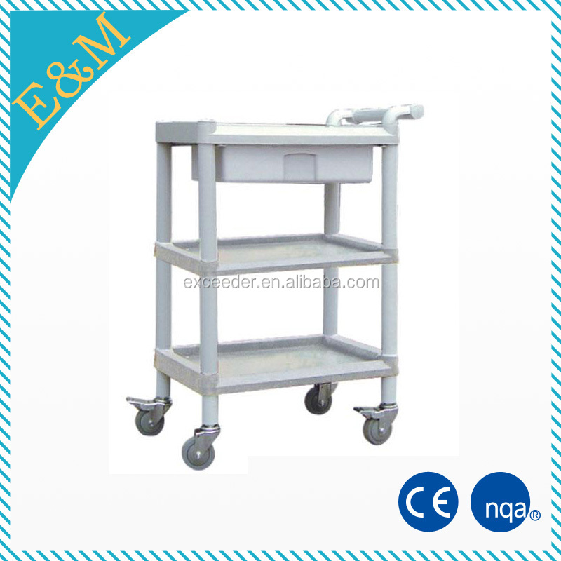 CE medical 3-layers abs utility cart plastic surgical cart