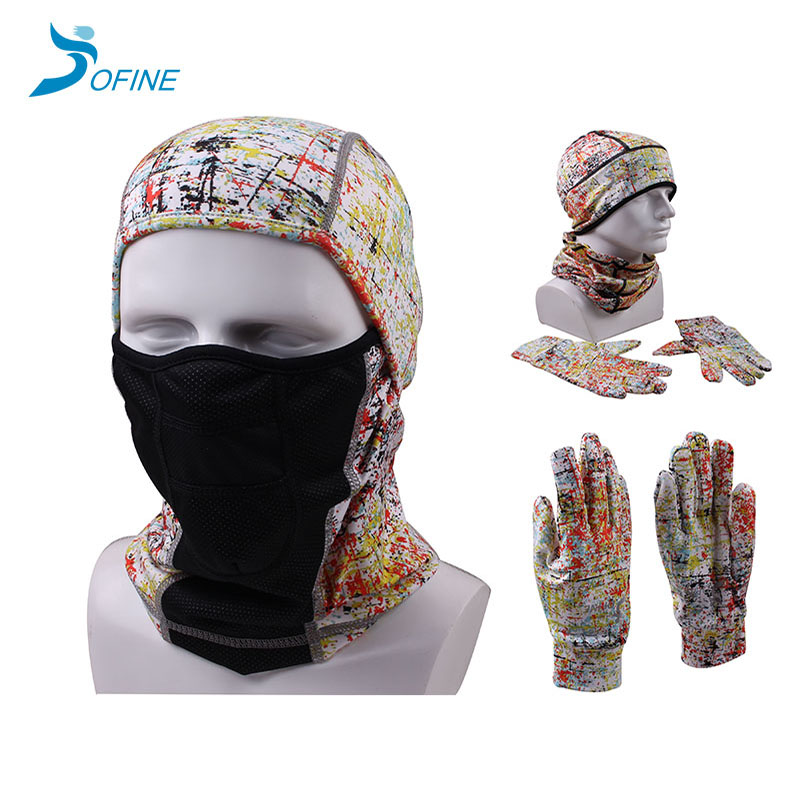 High quality custom print sports racing riding cycling hat glove scarf set