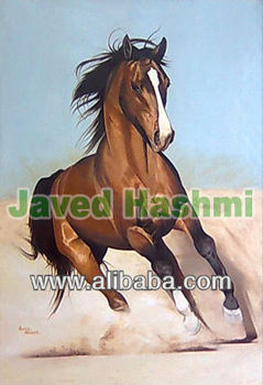 Beautiful Single Running Horse Oil Canvas Painting