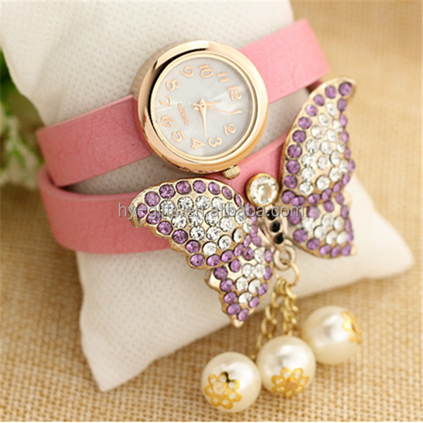 Fashion Women Quartz Wrist Watch with butterfly