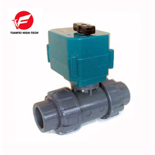 CTF-001 DN50 UPVC double union glue DC24V CR04 normally close motorized valve for waste water