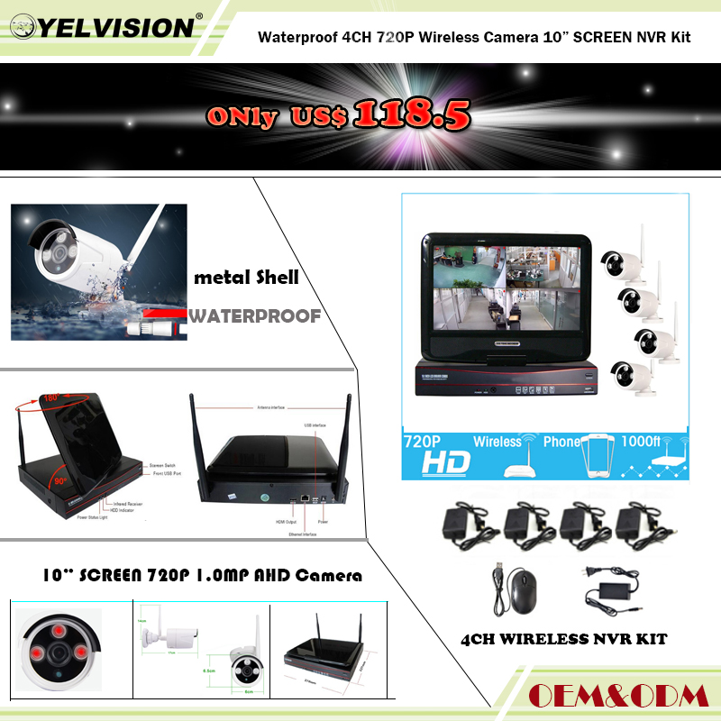 "10"" inch Screen waterproof 4 in 1 wireless NVR kit 10"" Screen NVR 8CH 1080P + 4pcs wireless wifi IP Cameras,"
