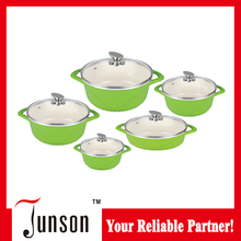 10Pcs White Ceramic Cookware Sets/Die Cast Aluminum Cookware Set with Glass Lid