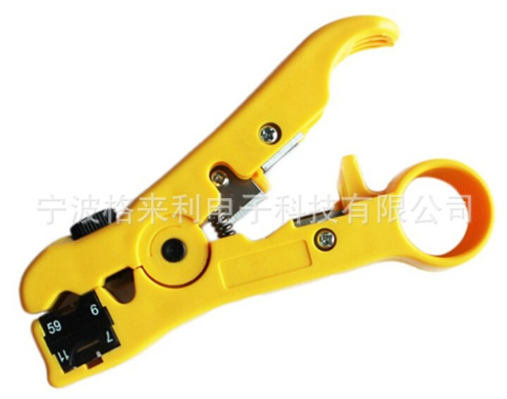 yellow Network Phone Cable Wire Stripper Cutter Hand Tool Kit for UTP STP RG59/6/7/11
