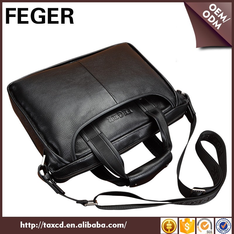 China Designer Men Cow Genuine Leather Hand Bags Business Wholesale