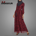 Newest Islamic Clothing Long Sleeves Abaya For Women Lace Floral Female Red Prom Dresses Muslim Dresses