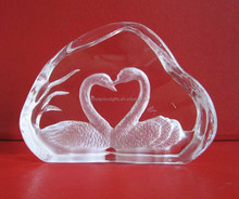 animal swan in crystal glass iceberg, valentine gifts