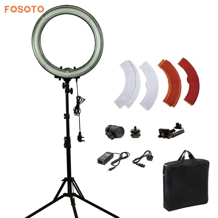 FOSOTO Dimmable 18 Inch 75W Fluorescent photography Ring Light with stand Kit