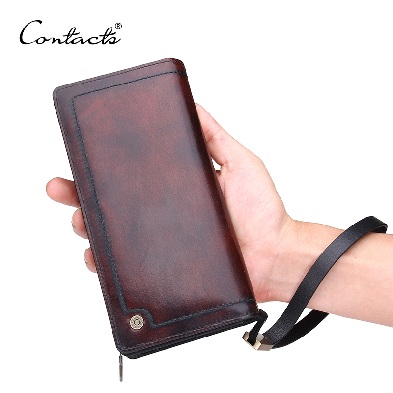CONTACT'S Designer Italian Burnished Leather Purse with Bifold 100% Genuine Real Leather Wallet Brown Men Clutch Brand Wallets