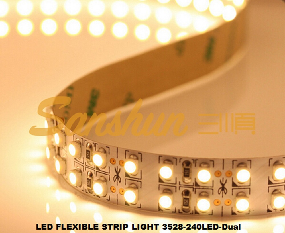 3528 led strip light 240 leds per meter, 14.4W/<strong>m</strong>, dual line, warm white, natural white ,cold white optional