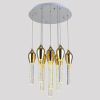 Contemporary luxury creative idea energy saving flute shaped LED bubble crystal chandelier indoor iron pendant light