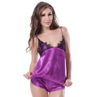 Romantic fantastic purple lace silk honeymoon lingerie sexy nighty