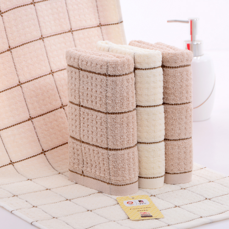 cheap beautiful design cam border jacquard 100 cotton beige face towel