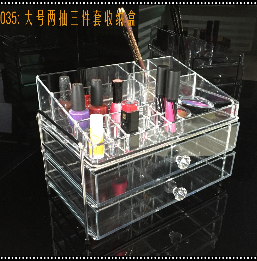 yiwu <strong>acrylic</strong> factory 3 layers <strong>acrylic</strong> drawer storage organizer with metal frame supporter