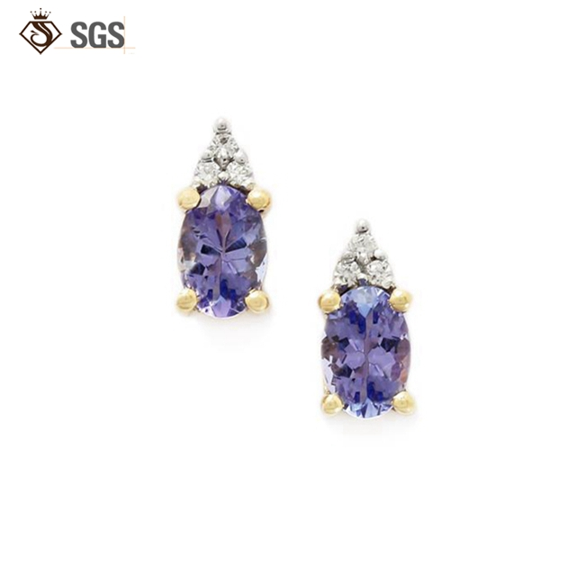 Oval Shape amethyst gold filled earrings