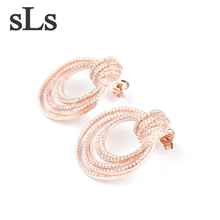 Hot Sale Jewelry Fashion 24K Gold Plated Hoop Earring For Woman