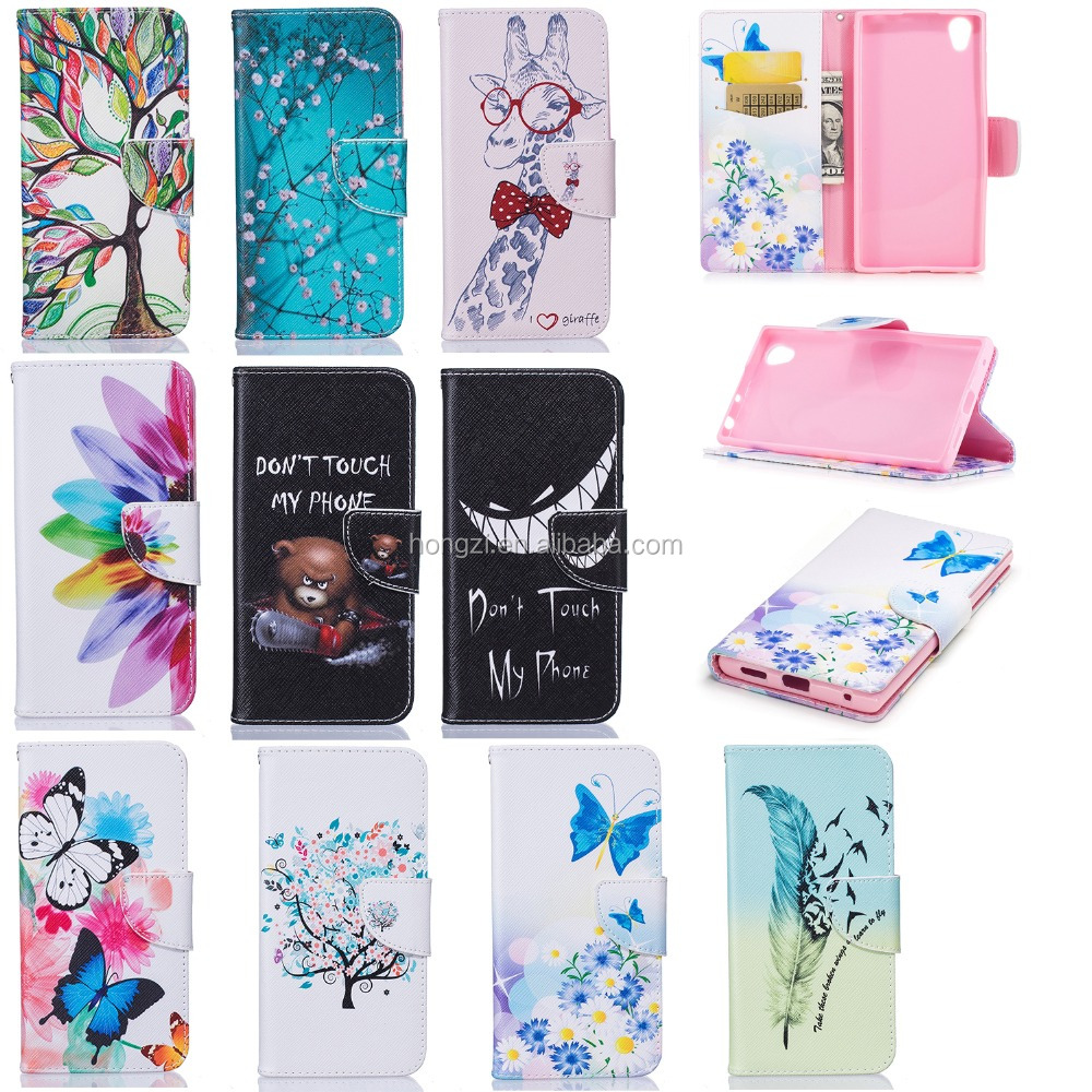 For Sony E6 <strong>L1</strong> leather case Pu Back case covers Pu Color Printing leahter Back case covers