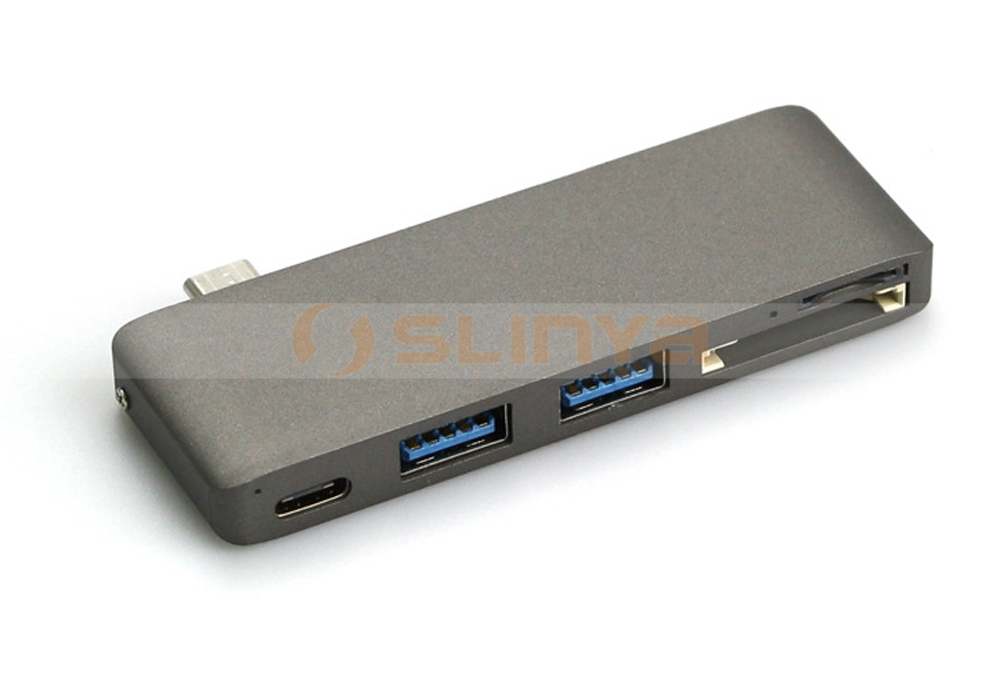 Multifunction Card Reader Two USB 3.0 Ports Type C 5 in 1 Combo Hub For Macbook