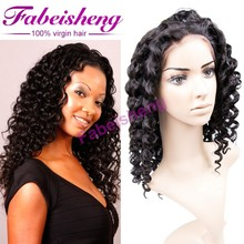 "High density 180% unprocessed virgin hair curly full lace wig 8-30"" natural color Malaysian hair wig in stock"