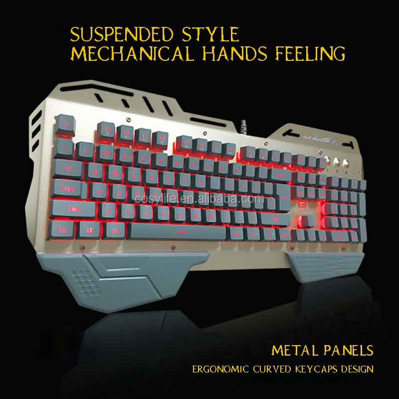 Hot sales ergonomic multimedia wired standard led game keyboard/qwerty/fingerboard