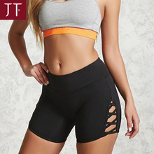 Summer high waisted workout compression shorts with key pocket