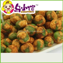 Spicy coated green pea snack