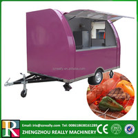 Refrigerator equipped BBQ steel mobile food kiosk for sale