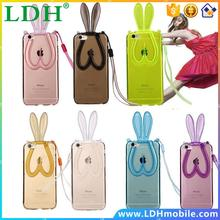 Lovely Fashion Cute Transparent Soft Silicone TPU Rabbit Ears Lanyard Back Stand Case Cover for iPhone 4 4S 5 5S 6 6 Plus