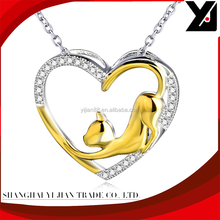 Cubic zirconia heart pendant with gold plated cat charm 925 solid silver heavy chain
