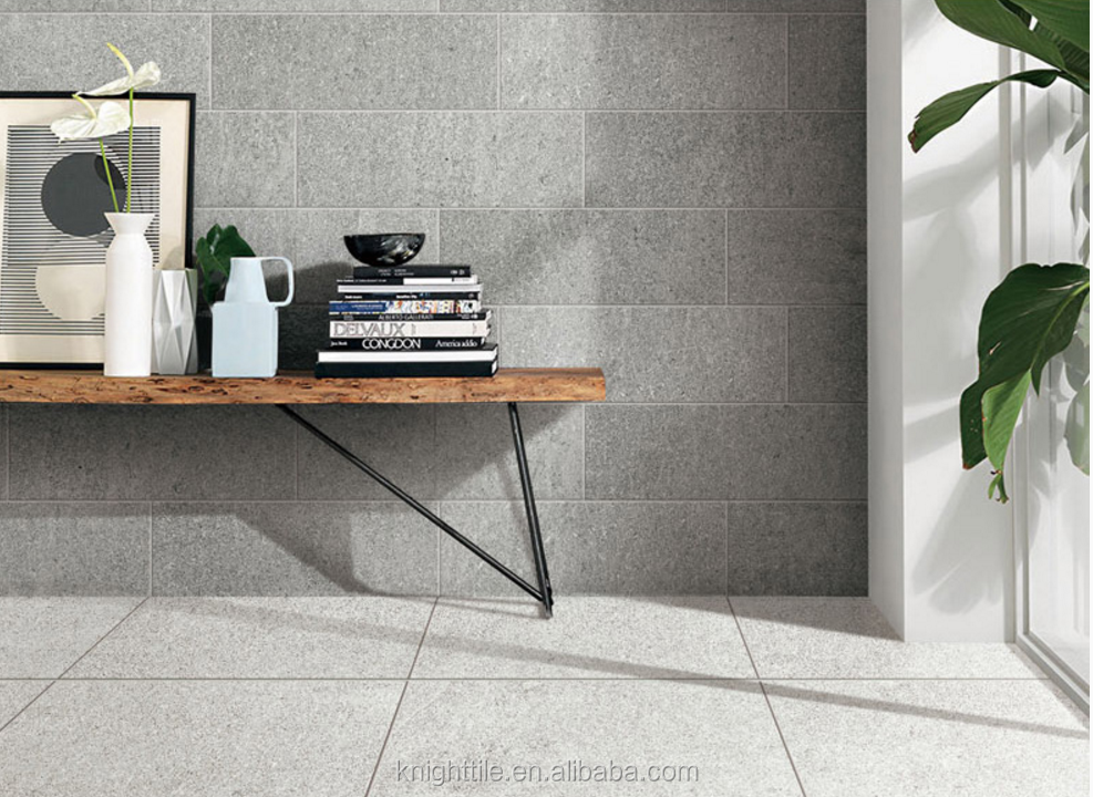 Textured Sand Stone Look Cermaic Tile For Living Room Bathroom Wall and Floor Tile Light Grey Beige color
