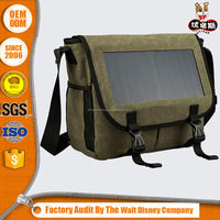 durable canvas travelling solar laptop bag charger with shoulder strap