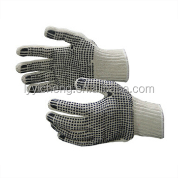 Cotton Drill Pvc Polka Dot Glove Gardening Gloves Buy