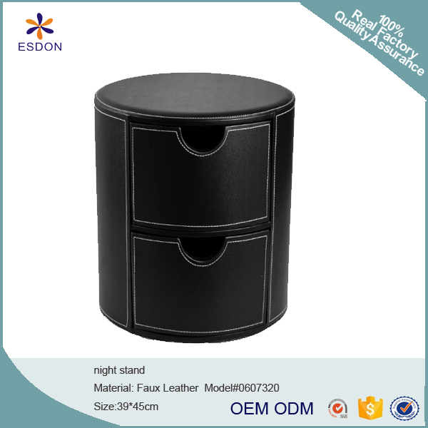 faux leather Hollywood Glamour Style Oval 2-Drawer Faux Leather Nightstand, round shape with white stich decoration, Black