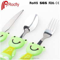 wholesales price spoon and fork, plastic and stainless steel smiling bear spoon fork kid, kids fork spoon