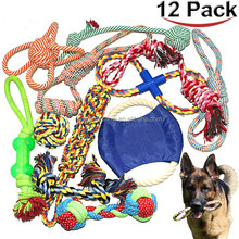 Yiwu Factory cheap pet dog chew toy gift set 12 PACK OEM assortment tough cotton rope custom dog toy
